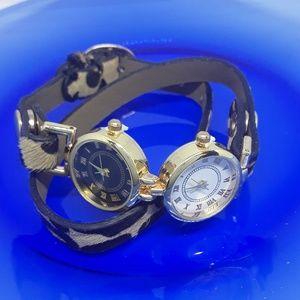 Leopard Print Double Time Zone Wrap Watch